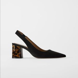 Zara black pointed heels with tortoise heel block